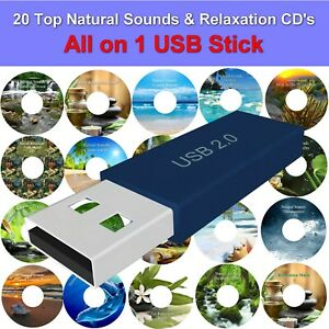 20 Natural Sounds & Relaxation Music on 1 USB Memory Stick Anxiety Stress Relief