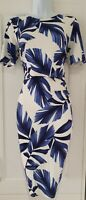Womens Phase Eight White Blue Leaf Gathered Drape Stretch Overlay Wiggle Dress10