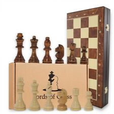 Schachspiel Schach handgeschnitzt Schachbrett Holz Chess Board klappbar 48x48 cm