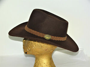 Vtg Brown Australian Outback Collection Jackeroo Cowboy Hat  7 1/8 Pure Fur Felt