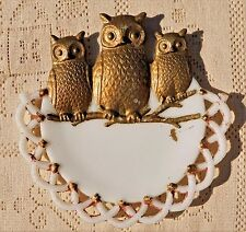ANTIQUE VICTORIAN MILK GLASS WALL HANGING W/ OWL THEME PATTERN - WESTMORELAND