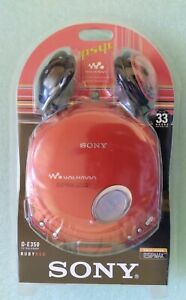 New  SONY CD WALKMAN D-E350 Portable  CD Player Red CDRW Playback Mega Bass