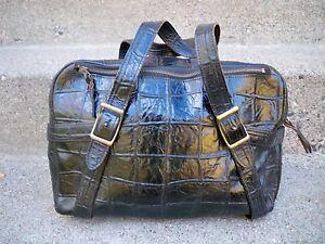 Vtg Park Lake Black Crocodile Leather Shoulder Handbag Purse Bag Tote Satchel