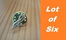 LOT of 6 Masonic Gold Platd Mason Masonic Cable Tow Rope Freemason Lapel Pin hat
