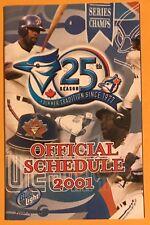 CARLOS DELGADO, JOE CARTER ON FRONT,  2001 SEASON SCHEDULE, TORONTO BLUE JAYS !