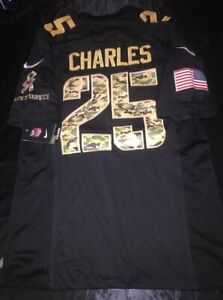 NWT Jamaal Charles Kansas Chiefs Salute to Service Black Camo 2XL Nike Jersey
