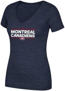 Montreal Canadiens Adidas Navy Blue Woman's Tri-Blend Dassler V-Neck T-Shirt