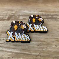 "Vintage Pair 1988 Marvel Comics X-Men Wolverine Plastic Lapel Pins Small 1.3"""
