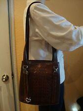 BRIGHTON BROWN CROCODILE LEATHER WOMEN'S SHOULDER BAG