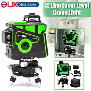 12 Line Green Laser Level Self Leveling 3D 360° Rotary Cross Measure Tool Kit UK