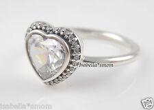 Zirconia Stones Heart Ring 8.5~58 New Sparkling Love 100% Genuine Pandora Clear