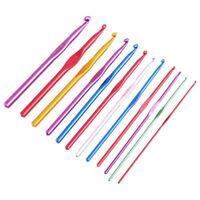 12x Metal Needles Crochet Hooks With Case Yarn Craft Kit Multicolor random A2R8