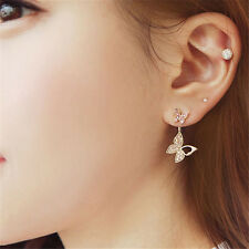 1 Pair Double Butterflies Earrings Rhinestone Butterfly Pendant Fashion Jewelry