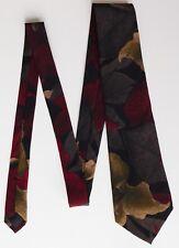 Ascot vintage silk tie with leaf pattern dark colours