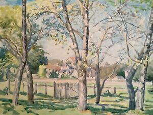 """Vintage Painting of a """"Park View Landscape"""" 1930s Watercolour on Board, 9 x 12in"""