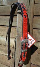 "Reinsman 1 1/2"" Neon Rodeo Red Gator Set Ear Headstall - Black"