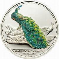 Palau 2009 Peacock 5 Dollars Silver Coin,Proof