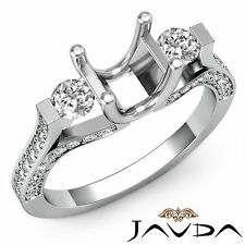 Genuine Round Diamond Three Stone Engagement Ring 18k White Gold Semi Mount 1Ct