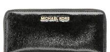 Michael Kors Jet Set Travel Continental Patent Leather Wallet Black Gold NWT