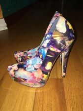 "Madonna Truth Or Dare Floral Patent Almond Toe 6"" Pumps! 1.5"" Hidden Pltfrm"
