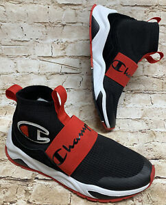 Champion Youth RALLY PRO CPS10067T Black Red White Pull-On Tabs High Top Shoes