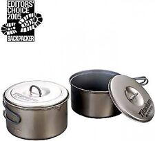 Evernew Titanium Non-Stick 1.9L and 1.3L Pot set , Two pots with lids, ECA-413