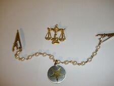 tone Brooch and necklace clips both ends Vintage Order of the Eastern Star Gold