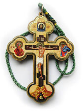 Wood Orthodox Icon Cross Icon Crucifix on Cord For Car Room ICXC Jesus Christ