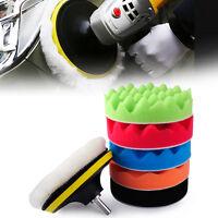 """7pcs 5"""" 125mm Car Polishing Waxing Buffing Wool Sponge Pads Polisher Buffer Kit"""