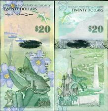 BERMUDA 20 DOLLARS 2009/2013 HYBRID PREFIX A/1 + COLOR CHANGE P 60 UNC
