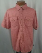 NWT True Grit Camp Shirt Short Sleeve Button Front Shirt Red 100% Cotton L