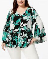 Alfani Plus Size 1X Blouse Women Floral Print Bell-Sleeve Top Blouse NEW RET $75