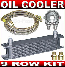 OIL COOLER KIT - 9 ROW OIL COOLER KIT with BRAIDED STAINLESS STEEL HOSES