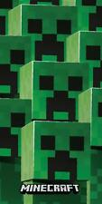 Official Minecraft Creeper Tower Beach Bath Towel Cotton Kids Gamer Gift Holiday