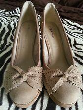 Women's Beige Suede Perforated Bowtie Detail High Heels UK 7