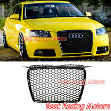 RS3 Style Front Grille (Gloss Black Frame + Mesh) Fits 06-08 Audi A3 8P