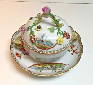 1758 Ludwigsburg SPECTACULAR 3 part covered tureen~hand Paint & applied flowers