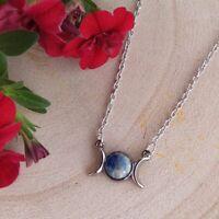 Lapis Lazuli Triple Moon Necklace,Boho,Bohemian,Goth,Gothic,Witch,Witchy,Goddess