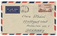 1955 Aug 2nd. Air Mail. Moe, Victoria to Stuttgart, Germany.