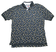 Tommy Hilfiger Men X Large Short Sleeve Polo Navy Blue Palm Tree Box Logo Cotton