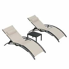 New listing Purple Leaf Patio Chaise Lounge Sets 3 Pieces Outdoor Lounge Chair (Beige)