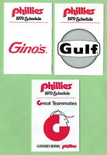 PHILADELPHIA PHILLIES ~ 1979 Pocket Schedules 3 different ~ FREE SHIPPING