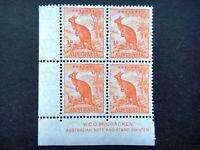 Australia 1937 - 1946 Stamps MNH Wmk Block Orange Kangaroo Watermarked Perf. 13