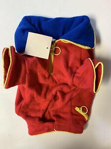 Cozy Pet Red or Blue Thermal Zipper Fleece Jacket Yellow Trim Medium / Large Dog