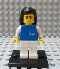 LEGO Town Girl Female TV New Reporter Broadcaster w/ Stand Black Hair Blue Torso