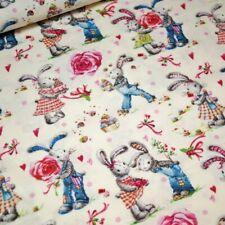 Rosa Pastel Conejos Numerosos Tela de Algodón para Patchwork Costura