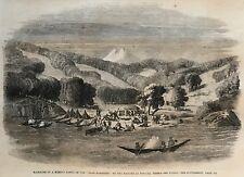 """Massacre Mission Party. Tierra Del Fuego. """"Alan Gardiner"""" Wood Engraving, 1860."""