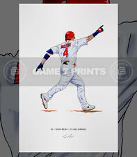Yadier Molina St Louis Cardinals Baseball Illustration Print Poster Art