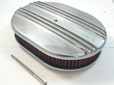 """12"""" Oval Polished Alumunim Finned Air Cleaner W / Washable Filter SBC BBC Ford"""
