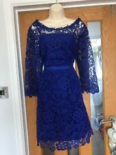 Monsoon Womens UK Size 8 Navy cobalt Blue Lace Evening Party Cruise Races